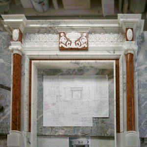 camino marmo calacatta e rosso asiago