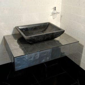 black marquinia marble bathroom