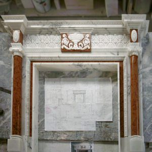 calacatta and asiago marble fireplace