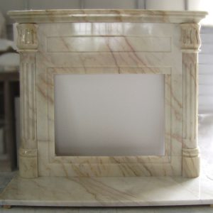 pink portugal marble fireplace