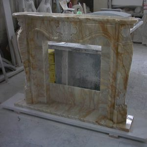 yellow siena marble fireplace