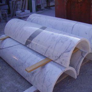 white carrara marble columns