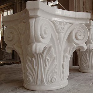 white carrara marble column