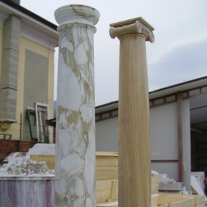 travertine and calacatta marble columns
