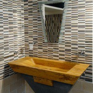 yellow palmas stone bathroom