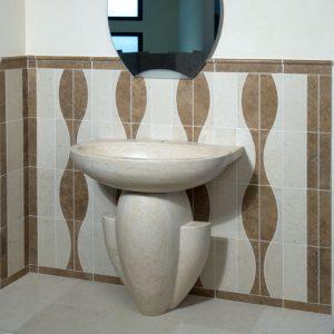 bathroom made in travertine stone