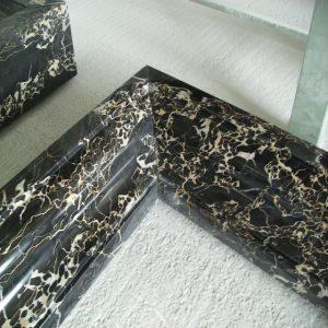 black portoro marble fireplace
