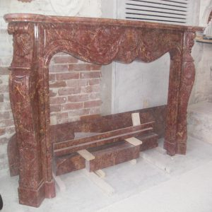 red lepanto marble fireplace