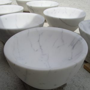 bathroom sink in white calacatta marble