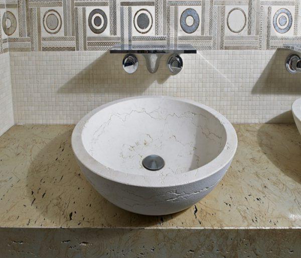 lavabo bagno marmo pietra bianco travertino