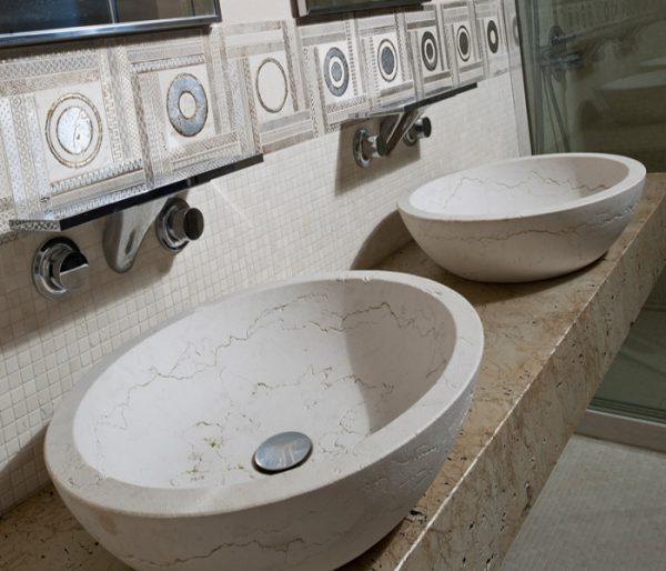 lavabo marmo pietra bianco perlino bagno
