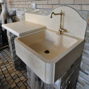 sink in yellow silvia oro marble
