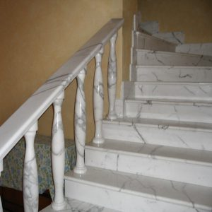stair made of white calacatta marble