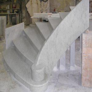 white carrara marble stair