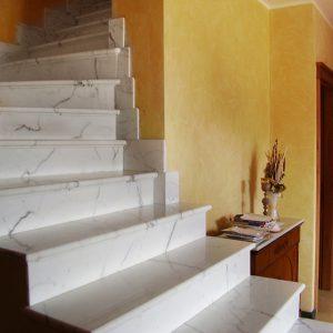 white calacatta marble stair