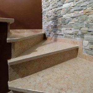 pink prun stone stair
